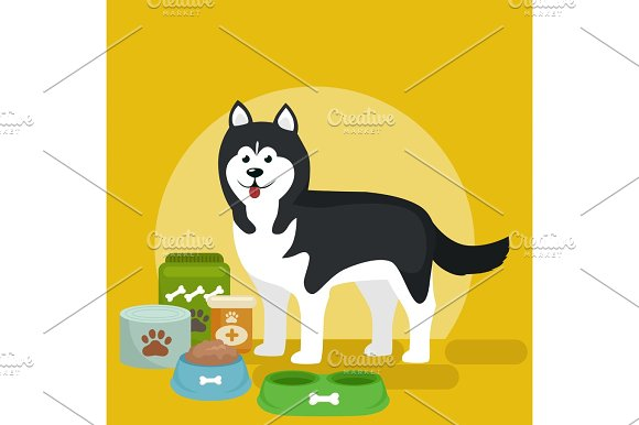 Cartoon Illustration Of Husky With Food Bowl Eating Dog