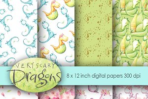 Dragons Digital Paper Watercolor