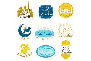 vector holiday named Eid Al Adha Festival of Sacrifice label. lettering composition muslim holy month with mosque building, sparkles and glitters illustration