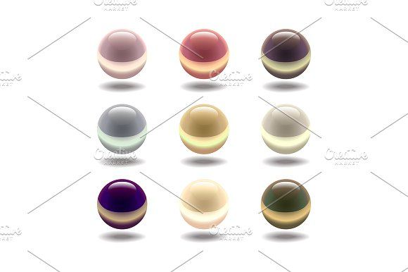 Glossy Colored Pearl Set Vector