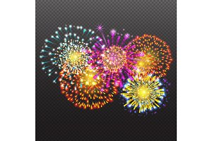 Set Festive Firework Salute Burst on Transparent Background vector illustration