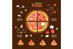 Pizza Food Set. Vector