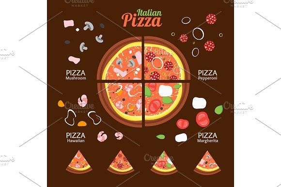 Pizza Food Set Vector
