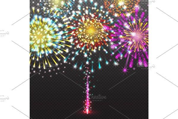 Set Festive Firework Salute Burst on Transparent Background