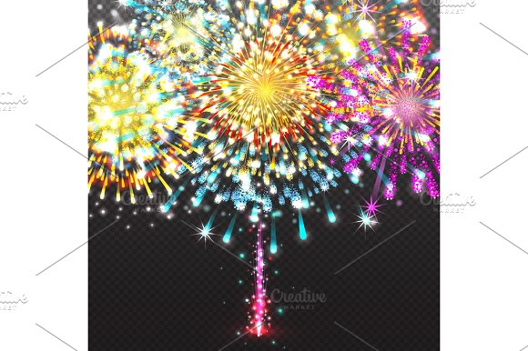 Set Festive Firework Salute Burst On Transparent Background Vector Illustration