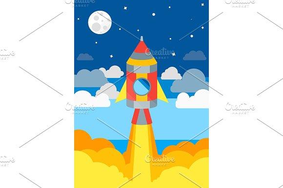 Rocket Ship Flying Vector