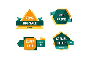 Geometric Sale Banners Set. Vector