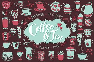Coffee & Tea Icon/Pattern Pack