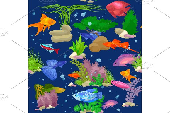 Aquarium Fish Seaweed Underwater Seamless Pattern Vector Illustration