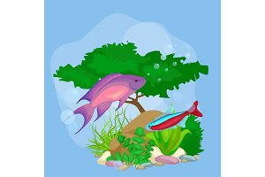 Underwater vector world background with fish, seaweed and bubbles