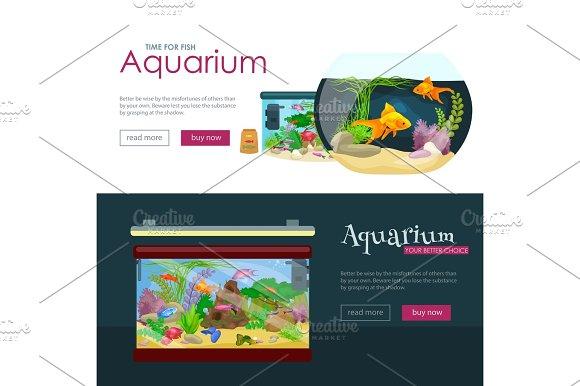 Aquarium Fish Seaweed Underwater Banner Template Layout With Marine Animal