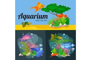 Aquarium fish, seaweed underwater, banner template layout with marine animal