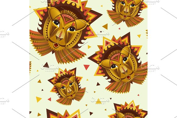 Seamless Pattern Geometric Vector Lion Face African Animals Head Illustration