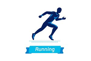 Running man logo or badge. Vector silhouette of runner. Sport emblem. Flat label concept.
