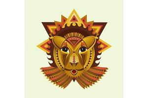 Flat Geometric vector lion face, african animals head illustration