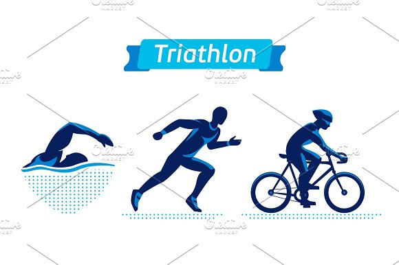 Triathlon Logos Or Badges Set Vector Figures Triathletes On A White Background Swimming Cycling And Running Man Flat Silhouettes