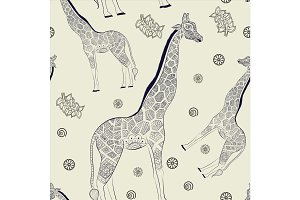 Hand drawn seamless pattern: ornamental animal african giraffe.