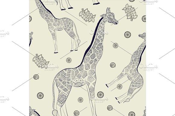 Hand Drawn Seamless Pattern Ornamental Animal African Giraffe