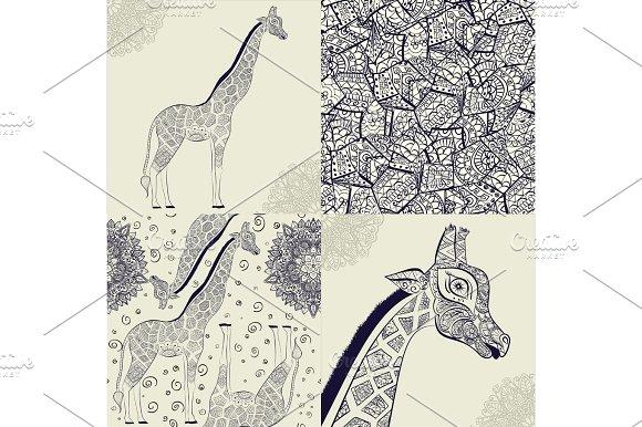 Hand Drawn Illustration Of Ornamental Boho Giraffe African Animals