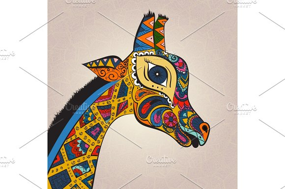 Isolated Ornamental Boho Cute Giraffe With Long Neck Drawing Sketched Animal Of Africa Illustration Nature Zoo Paisley Doodle For Design Pattern Textiles Hand Drawn Use Children's Clothes Pajamas