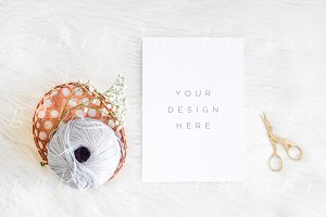 A5 Card Mockup Sewing Scissors