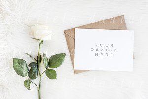 Rose Wedding Invitation A5 Mockup