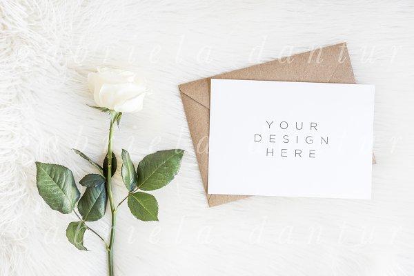Rose Wedding Invitation A5 Mockup