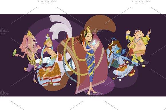 Set Of Isolated Hindu Gods Meditation In Yoga Poses Lotus And Goddess Hinduism Religion Traditional Asian Culture Spiritual Mythology Deity Worship Festival Vector Illustrations T-shirt Concepts