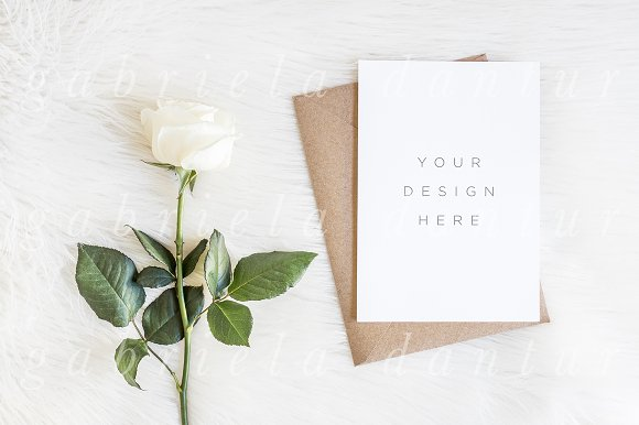 Rose Invitation Vertical Mockup