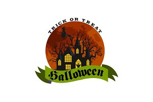Happy Halloween Badge or Label