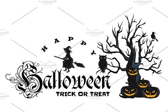 Happy Halloween Badge And Label