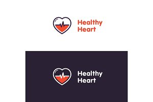 Heart Logo design vector template. Healthy heart badge. Cardiology Medical label. Flat style.