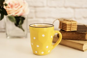 Coffee cup, polka dots