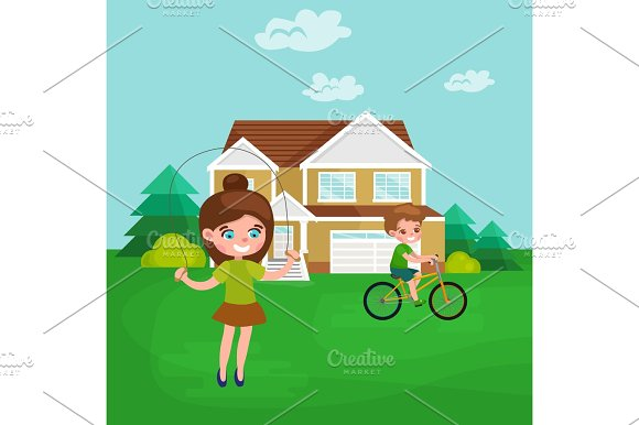 Little Girl Playing Skipping Rope Outdoor Athletics Kid Vector