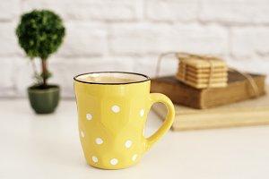 Coffee cup, polka dots