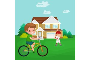Boy cycling, racing kids sport, physical activity vector illustration