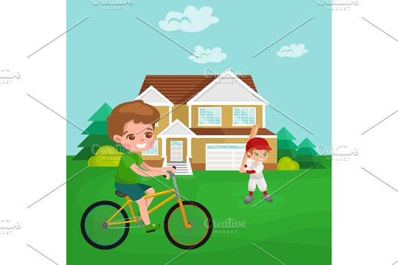 Boy Cycling Racing Kids Sport Physical Activity Vector Illustration