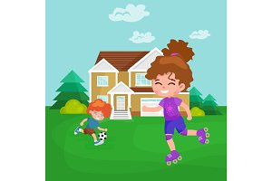 Happy girl fun rollers, children sport kids activity vector illustration