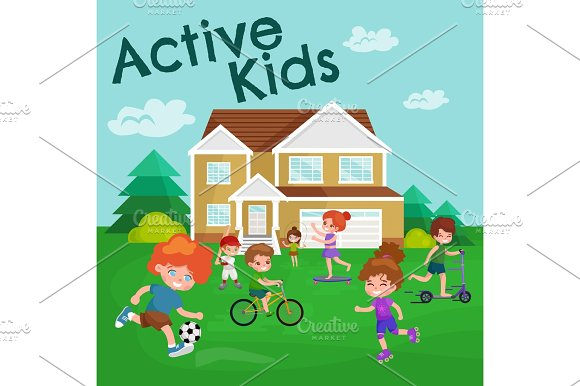 Kids Sport Isolated Boy And Girl Playing Active Games Vector
