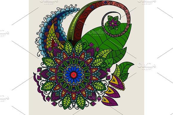 Hand Drawn Mandala Circular Colored Pattern For Decoration