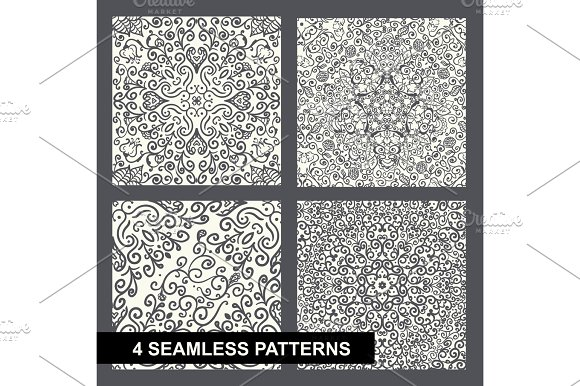 Decorative Floral Seamless Pattern Set On White