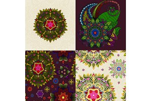 flower doodle mandala decoration circle element for pattern or backgrounds, floral indian ethnic ornament vector good for abstract tattoo illustration