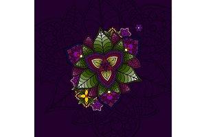 Hand drawn Mandala, circular colored pattern for decoration