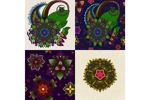 Vector set of Hand drawn Mandala and pattern from floral doodle. circular colored  for decoration