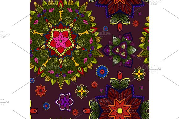 Hand Drawn Mandala Floral Design Element