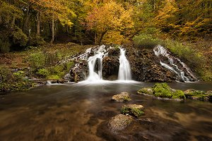 Waterfall, Autumn Landscape