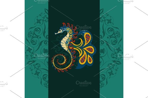 Sea Horse Fish In Ocean Isolated Marine Animals Squid Cartoon Monster Swimming Underwater Vector Illustration In Tribal Or Boho Style