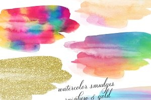Paint Smudge Clipart Set