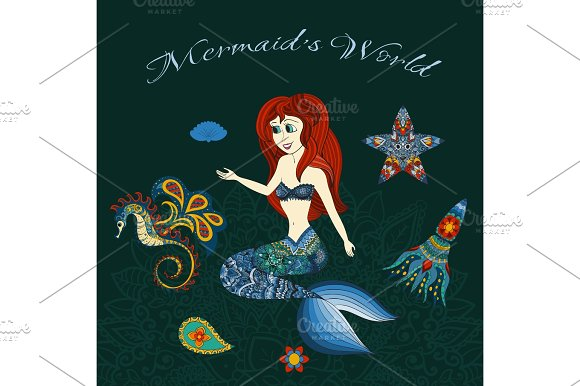 Illustration Of Sea Girl Ornamental Mermaid Doodle Handrown Background Vector Beautiful Woman Swimming Underwater With Tail