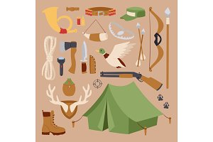 Set of hunting symbols camping objects design elements weapons vector illustration.